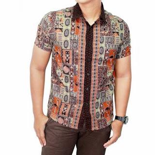 Model Baju Kemeja Batik Kombinasi Pria
