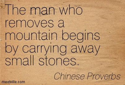 The man who removes a mountain begins by carrying away small stones - 10 Chinese Proverbs that Will Upgrade Your Perspective