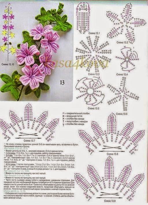 Rama florecida tejida con ganchillo con patrones