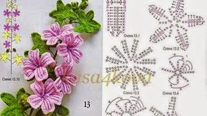 Rama florecida tejida al crochet