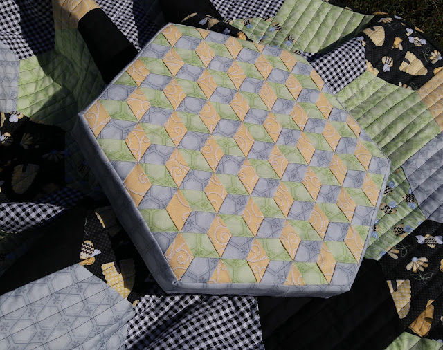 Henry Glass & Co. Sew Bee It fabric weaving hexagon pillow
