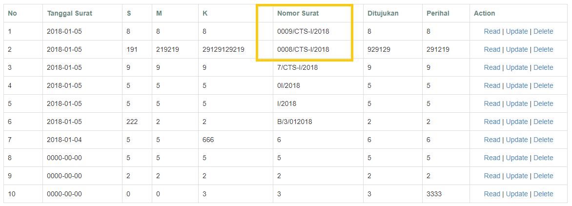 Membuat generate nomor urut melalui database dan nomor 4 digit denga