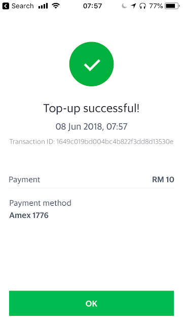 GrabPay top-up success via credit card