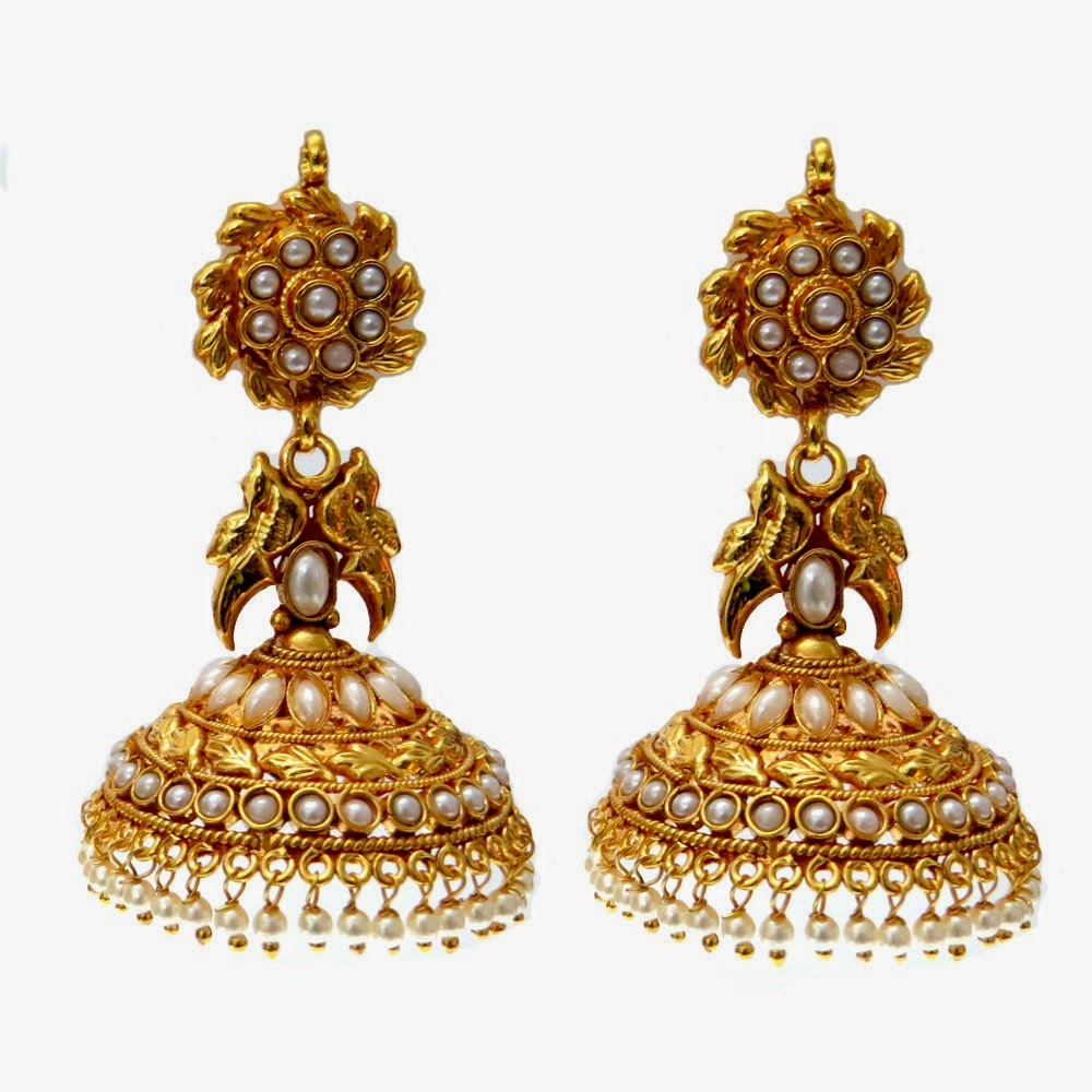 Latest Gold Jhumka Ear...