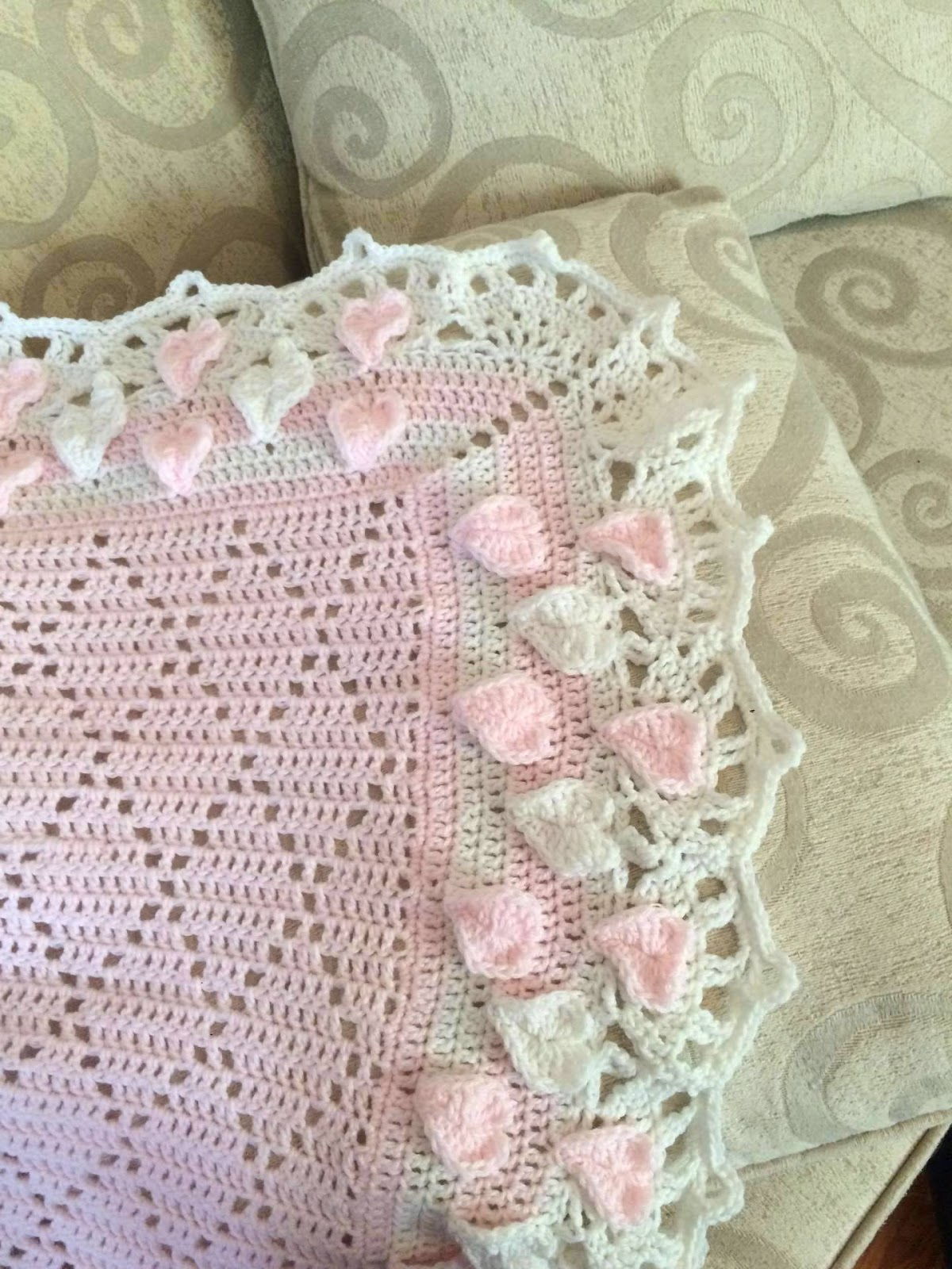 Lacy Crochet: Diamond Baby Blanket with Hearts and Shells ...