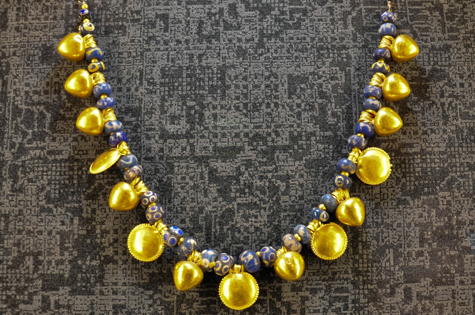 A yellow gold and vitreous paste Etruscan necklace from the 4th century BC in the Museum of the Jewellery in Vicenza