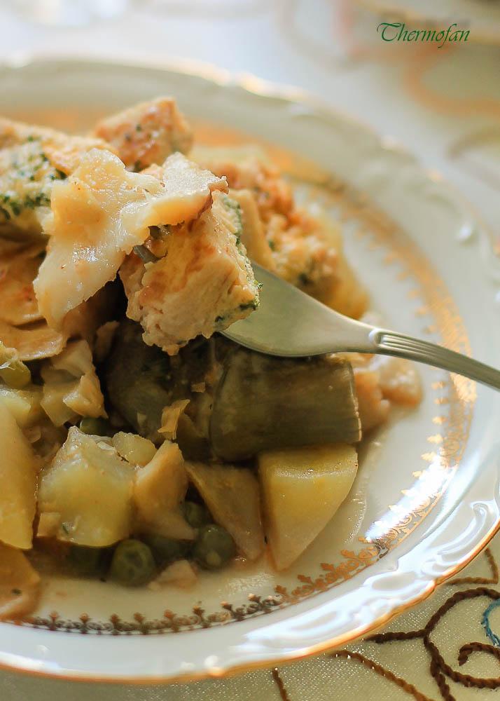 Guisado de bacalao con tortilla de mi familia thermofan - Bacalao guisado con patatas ...