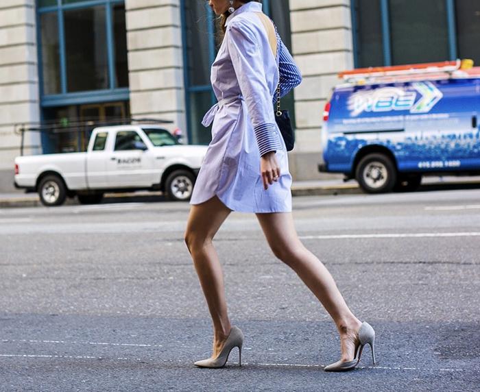 topshop stripe wrap back shirt dress, shirt dress, wrap back shirt dress, chanel classic flap bag, schutz heels, baublebar earrings, san francisco street style, san francisco fashion blog