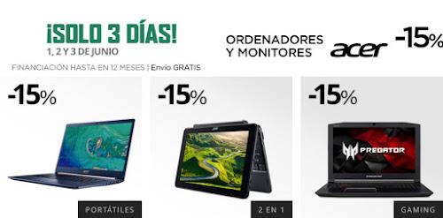 Solo 3 días ordenadores y monitores Acer -15% El Corte Inglés