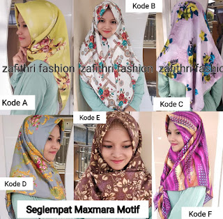 jilbab segiempat motif shabby chic