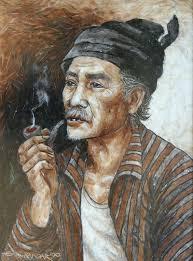 kakek sedang merokok
