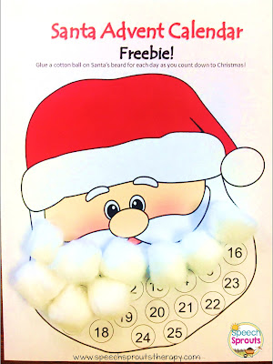 Santa Advent Calendar and Craft Freebie from Speech Sprouts