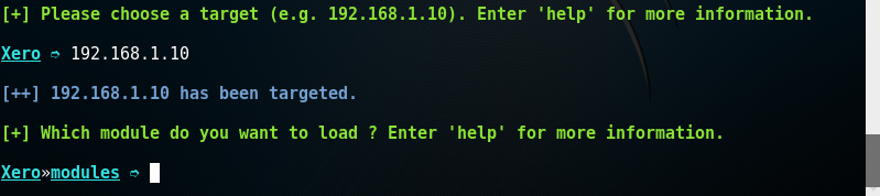 Xerosploit, indirizzo IP della macchina da attaccare