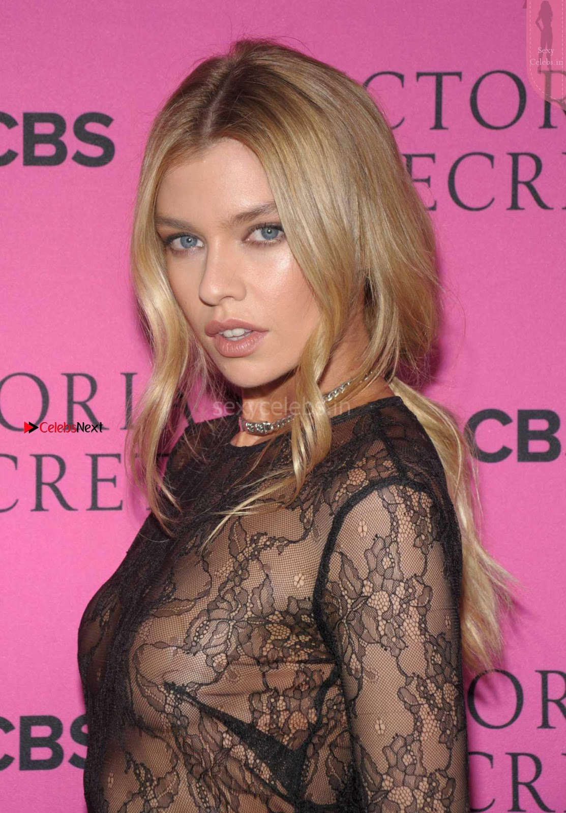 Stella Maxwell in Full Transparent Skin Tight Gown with Nipple Pasties Sexy Slim Young Actress Cleavages Tits Ass
