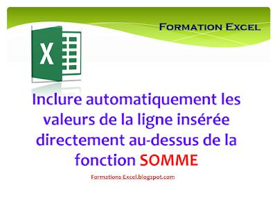 Inclure automatiquement les valeurs de la ligne insérée directement au-dessus de la fonction SOMME