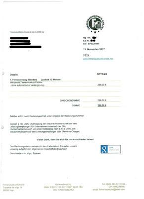 Scan: Firmenauskunft-Online | Rechnung