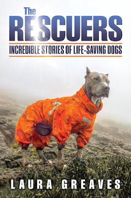 The Rescuers book by Laura Greaves showing a dog wearing an orange lifesaver jacket