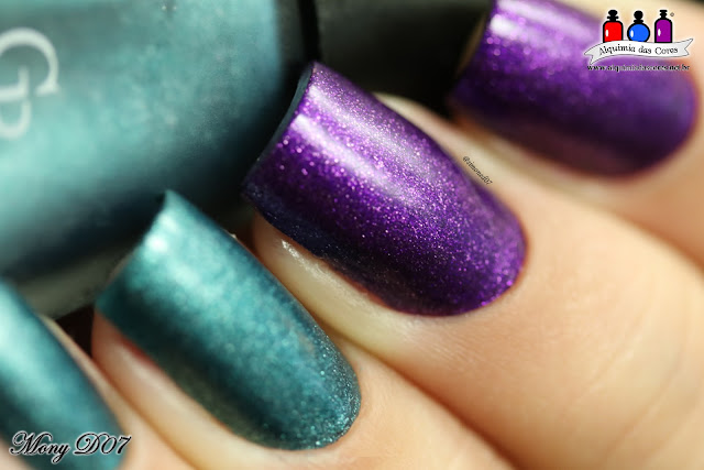 Mani tape, vinil nails, stencil, estêncil, nail art, Golden Rose, Matte Velvet, Matte Velvet Collection, 105, 107, Purple, Roxo, Teal, Mony D07, encerramento do Tema da Semana, Alquimia das Cores,