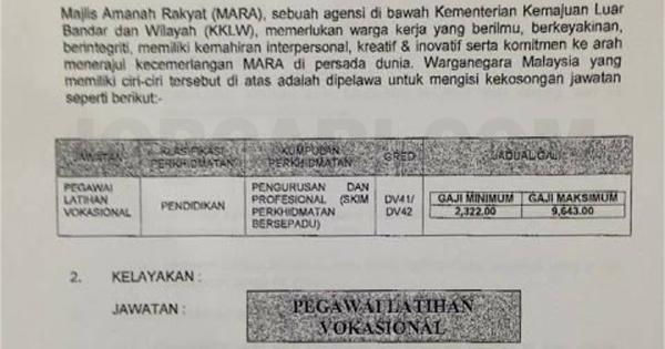 Jawatan Kosong Di Majlis Amanah Rakyat Mara Pegawai Latihan Vokasional Rm2 322 00 Rm9 643 00 Jobcari Com Jawatan Kosong Terkini