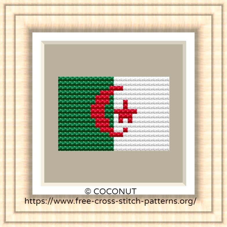 NATIONAL FLAG OF ALGERIA CROSS STITCH CHART
