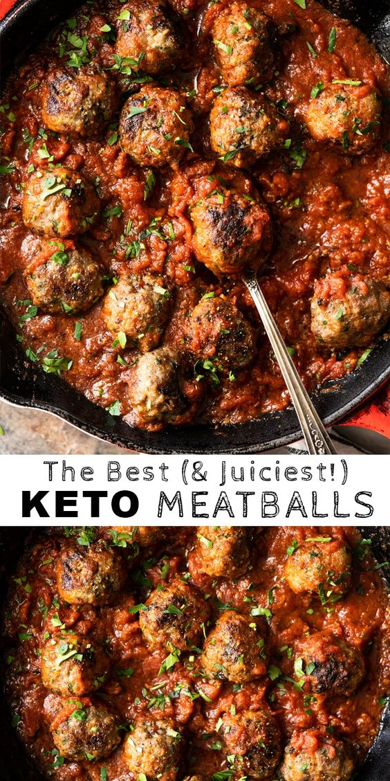 The Best Gluten Free & Keto Meatballs (with marinara sauce!) #keto #glutenfree #lowcarb #meatballs