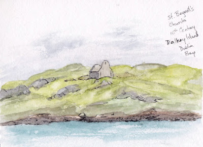 Dalkey Island, sketch, Dublin Bay, St. Begnet, Ireland, watercolor, pen & ink, Sivitz