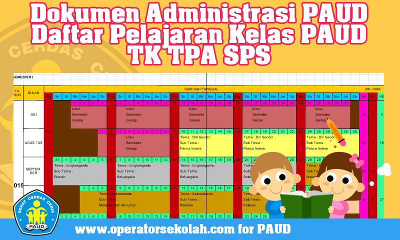Dokumen Administrasi PAUD Daftar Pelajaran Kelas PAUD TK TPA SPS