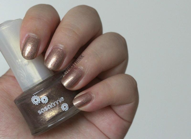Sasatinnie nail polish P537 - Raspberry gold bronze shimmer foil swatch