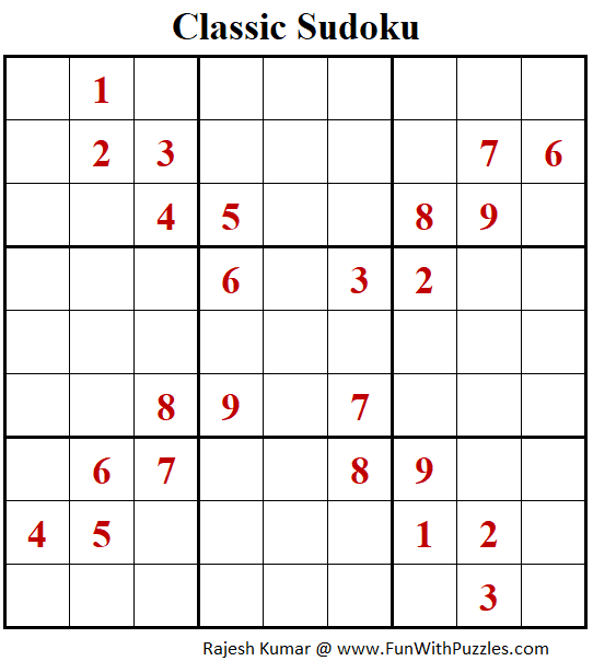 Classic Sudoku Puzzle (Fun With Sudoku #324)