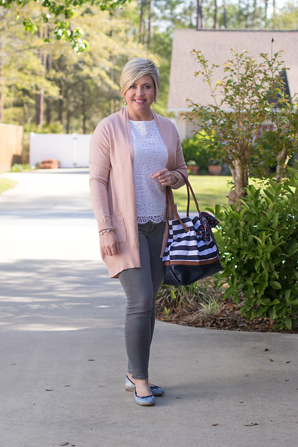 grey jeans and blush cardigan