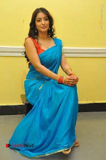 Telugu Actress Vaibhavi Stills in Blue Saree at Www.Meena Bazaar Movie Opening  0094.JPG