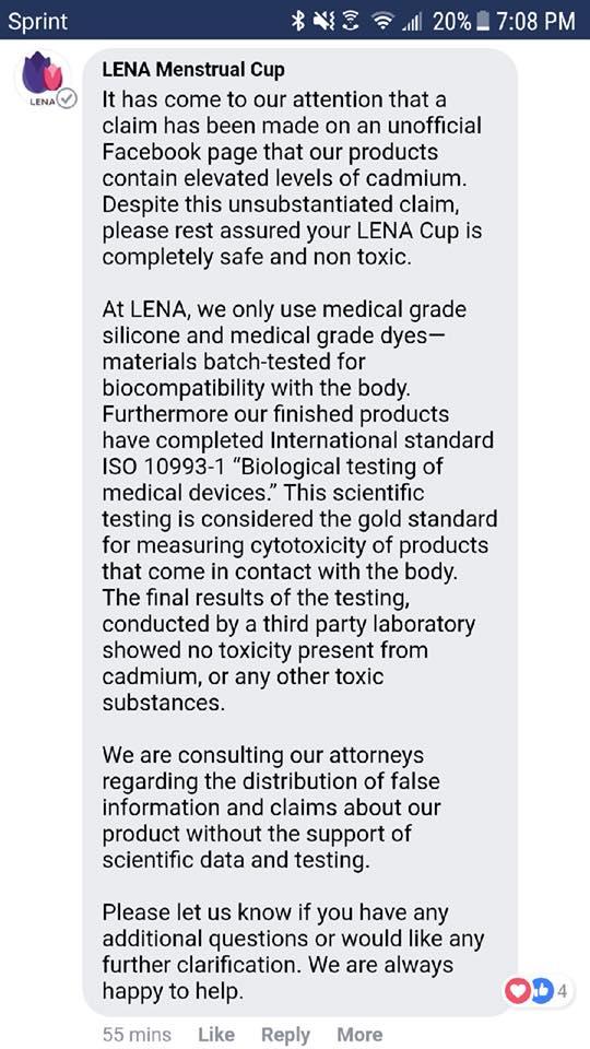 Menstrual cup dangers, cadmium in menstrual cups