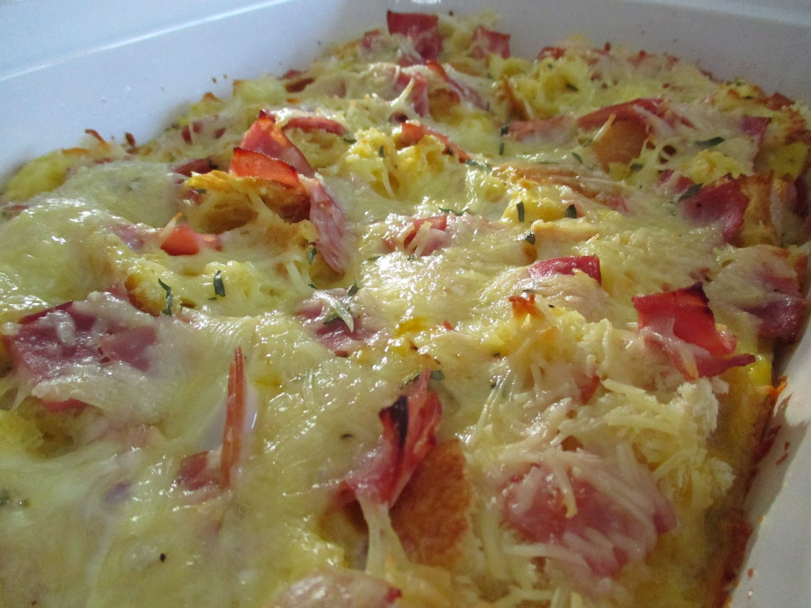 ham cheese strata breakfast casserole