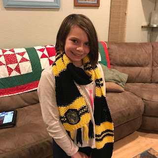 f7831d46594 Barb s Done-By-Halloween Harry Potter House Scarf - Hufflepuff modeled by  Jayla!