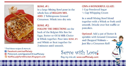 Belgian Master Mix Recipe: Cinn-A-Wonderful Pancakes or Waffles -click on card to print