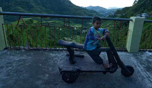 Youngest Kid Wooden Bike Riders of Banaue Ifugao Cordillera Administrative Region Philippines