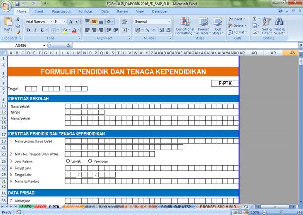 Formulir DAPODIK 2016 untuk SD SMP SLB SMA SMK Format Microsoft Excel