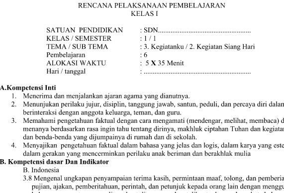 RPP Kurikulum 2013 Kelas 1 Tema 3 Subtema 2 Pembelajaran 6 Edisi Revisi 2016