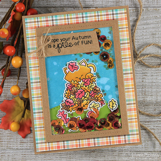 Kitty in Fall Leaves Card by Juliana Michaels | Autumn Newton Stamp Set by Newton's Nook Designs #newtonsnook #handmade