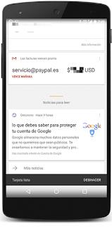 Tarjeta Google Now avisa vencimiento pago