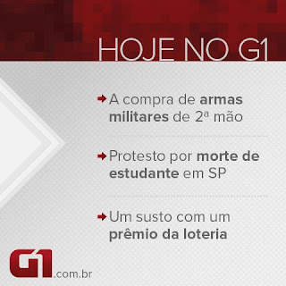 Página do G1 no Facebook, suprime links e se limita a postar fotos com as noticias destaques do dia.