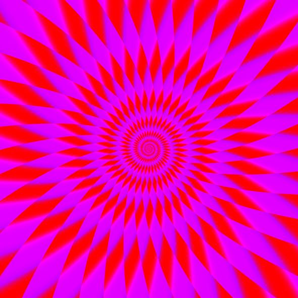 Mor ve pembe renkli spiral bir tünel şeklinde olan göz yanılması resmi