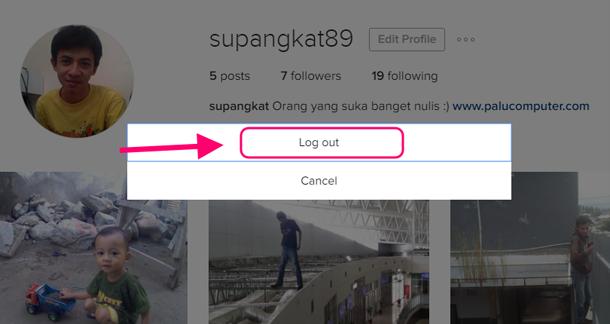 cara keluar instagram lewat pc