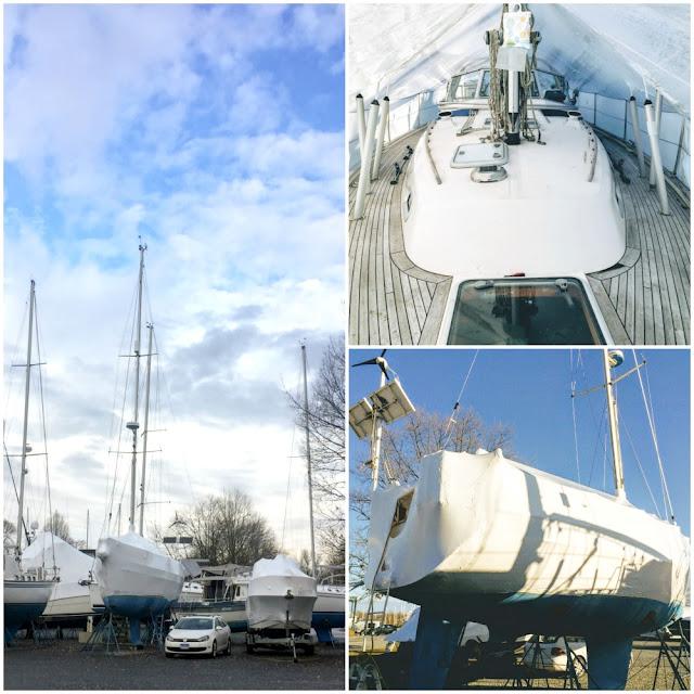 Hallberg-Rassy 37 sailboat on land drydocked and shrinkwrapped