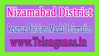 Nizamabad District Revenue Divisions Mandal Information