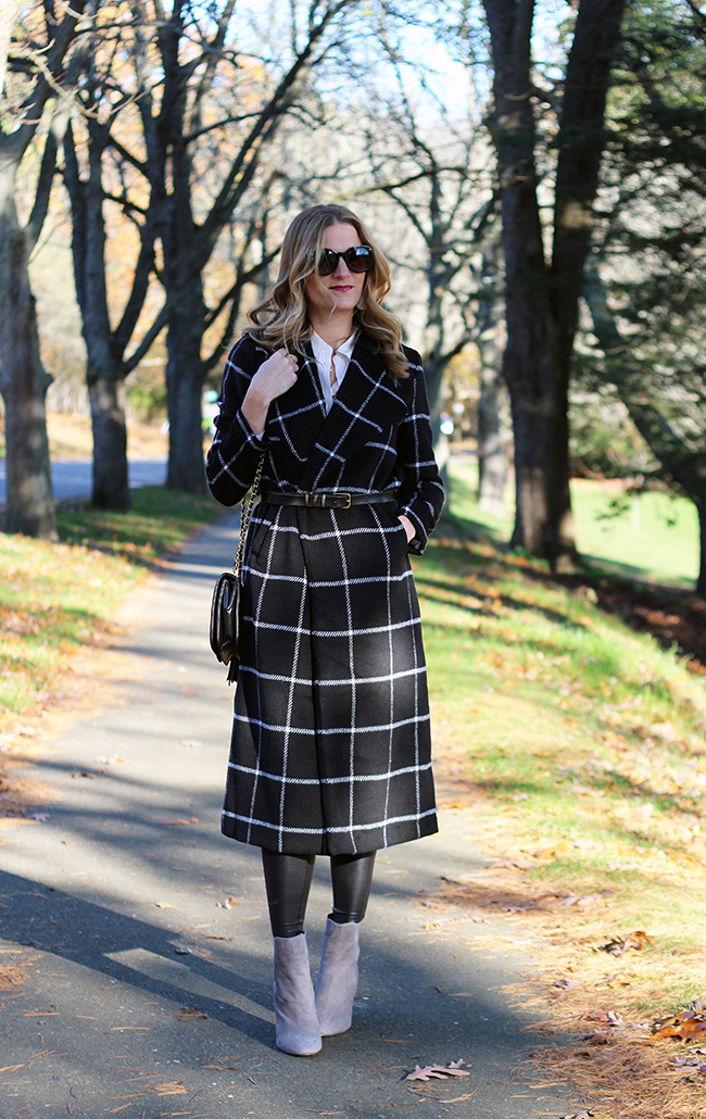 Grid pattern long coat