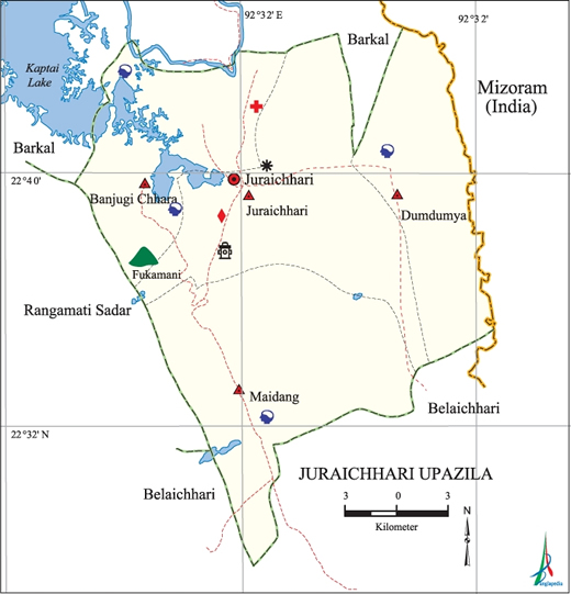 Juraichari Upazila Map Rangamati District Bangladesh