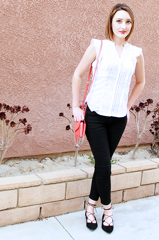 Black and White Outfit with Lace Up Flats