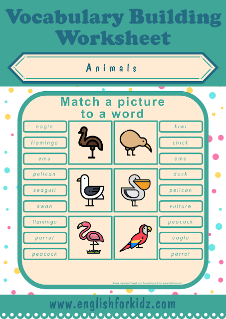 Birds worksheet - picture to word matching - free ESL printables