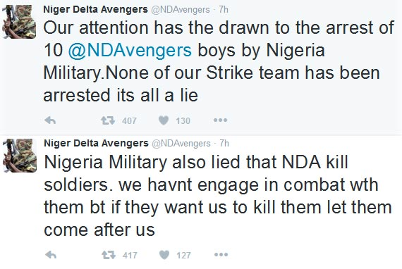 Niger Delta Avengers denies arrest of its members, says it did not kill Nigerian soldiers